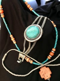 Southwest turquoise and coral look necklace and bracelet Miami, 74354