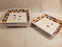 "RETIRED Pampered Chef 7"" Square Plates - (Colorful Tiles) Set of 4  Mastic"