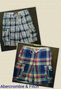 blue, white, and red plaid shorts