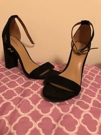 Black-and-brown open toe ankle strap heels Alexandria, 22309