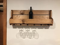 Wooden wine shelf with 6 glass holder 43 km