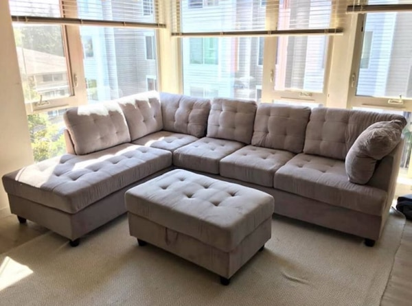 Magnificent Grey Chenille Sectional Couch Pdpeps Interior Chair Design Pdpepsorg