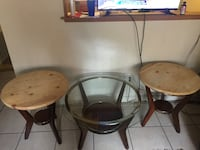 brown wooden round coffee table