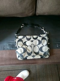 monogrammed black and gray Coach leather crossbody bag Westminster, 80021