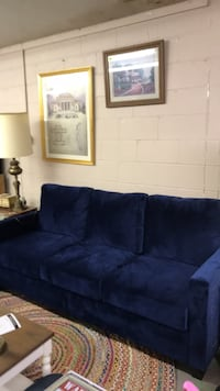 Blue suede 3-seat sofa Hopewell, 43746
