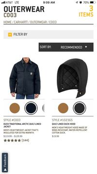 Brand new in package XL black quilted Carhartt coat and quilted hood. Warren, 48091