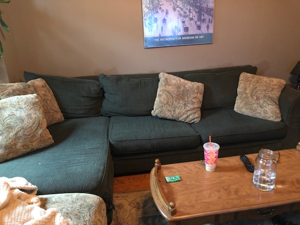 Comfy sectional, coffee table,side table. Moving must go by 5/27