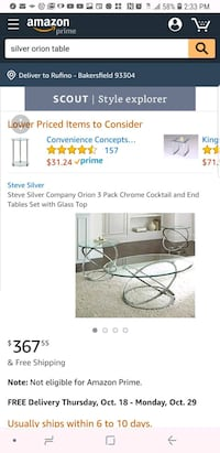 Silver Coffee and End Tables Bakersfield, 93309