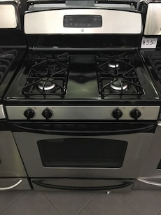 black and gray gas range
