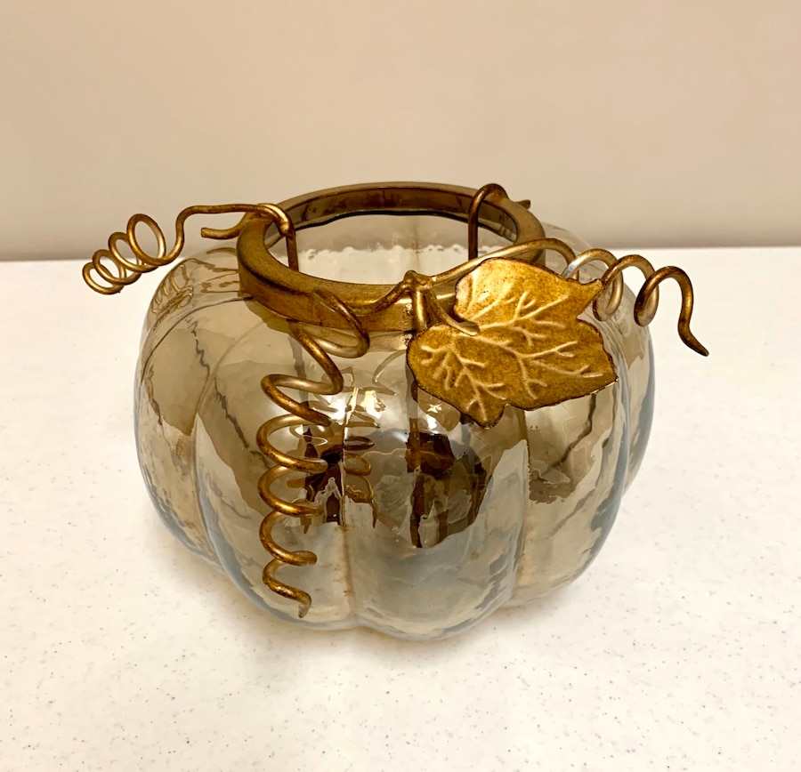 Photo Bath & Body Works gold & glass pumpkin centerpiece and candle holder