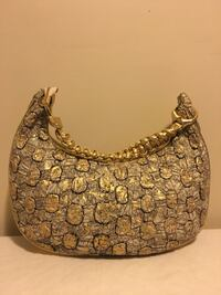 Textured Gold Accents Leather Handbag Laurel