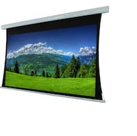 "Tab-tension. Motorized 120"" projector screen. 2x remote controls Mission, V2V 6R4"
