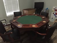 Dining/poker/game table w/ 4 rolling adjustable chairs.