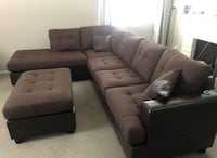 Brand New Brown Linen Sectional Sofa Couch + Ottoman Silver Spring, 20902