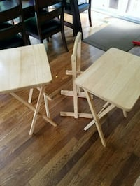 two  wooden folding tray tables 61 km