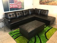 black leather sectional sofa with ottoman Houston, 77095