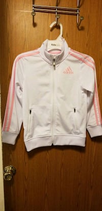 White & pink adidas zip-up jacket for girl Milton, 17847
