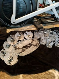 Glass tray and cups and bowls