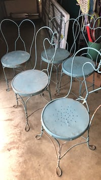Vintage blue metal ice cream parlor chairs Loganville, 17360