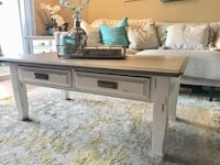 Solid wood farmhouse, country rustic set. Coffee table and end table with floral detail. Las Vegas