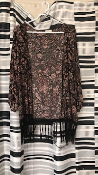 Brown and black floral fringed cardigan London, N6H 3E8