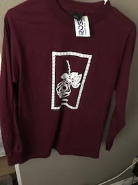 maroon and white crew neck long sleeve shirt Henderson, 89014