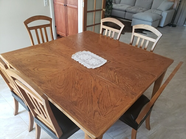 Wondrous Real Solid Oak Dining Table And Six Chairs Adjustable Center Slab Ibusinesslaw Wood Chair Design Ideas Ibusinesslaworg