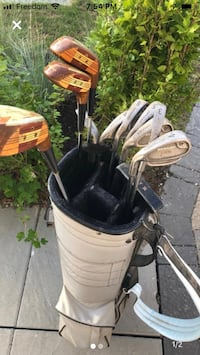 Dunlop left hand golf clubs and bag