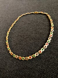 Faux Gold chain link necklace with multi coloured stones lobster lock