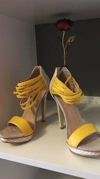 Yellow-and-brown leather open toe ankle strap stilettos