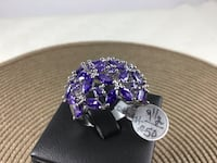 New Amethyst Ring, White Gold Filled , size 9.5 172 mi