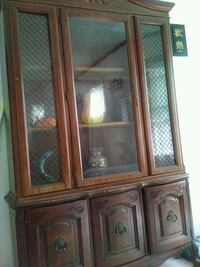 brown wooden framed glass display cabinet Trenton, 08629