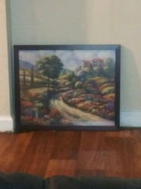 brown wooden framed painting of house Douglasville