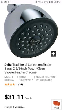 Never used Delta touch-clean shower head Vaughan, L6A 4M1
