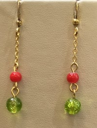 Red and green beaded earring Toronto, M1B 4Y7