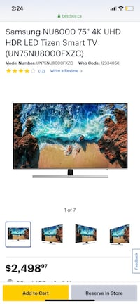 "75"" Samsung 4K UHD HDR LED Smart TV Mississauga, L5B 2L8"