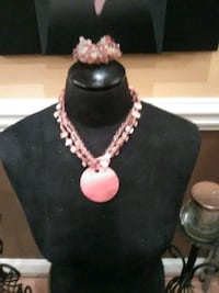 silver and pink beaded necklace Brooklet, 30415
