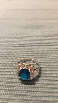 Silver-colored ring with blue gemstone Staunton, 24401