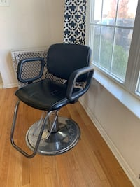 black and gray leather padded barber chair Galloway, 08205