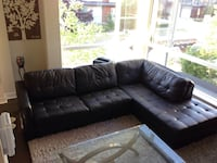 black leather tufted sectional sofa Surrey, V4N 6P4