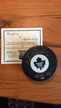Autographed Borje Salming Toronto Maple Leafs HOF puck. Toronto, M4H