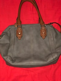 Grey hand bag with brown handles, brown cross body cord detachable   Minneapolis, 55412