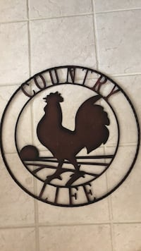 Red wrought iron rooster hanging Indianapolis, 46239