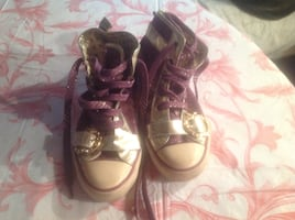 Apple Bottom purple and gold sneakers Size 8.5 women's