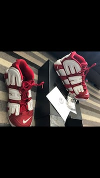 Size 11 Supreme x Nike Air Uptempo Red Toronto, M3N