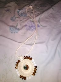 white necklace with round brown and white pendant Noel, 64854