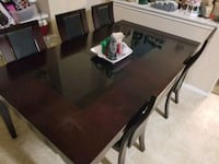 rectangular brown wooden table with chairs dining set Round Rock, 78665