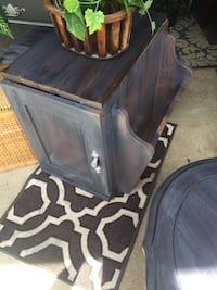Wooden rustic wood top side table with magazine rack and cabinet below 19x20x20 Massillon, 44646