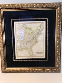 Matted Gold Wooden Framed picture of the eastern half of the US Reston, 20190