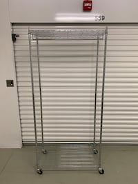 Wire Shelving Garment Clothing Rack on Wheels - Excellent